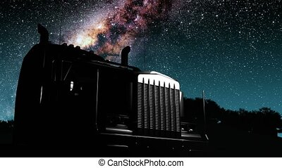 lorry truck and Milky Way stars at night. Elements of this image furnished by NASA