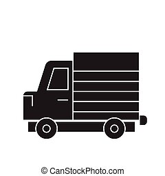 Lorry truck black vector concept icon. Lorry truck flat illustration, sign