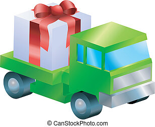 A truck or lorry carrying a nicely wrapped gift