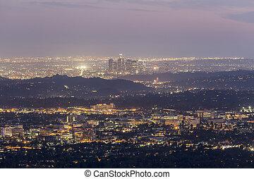 los ángeles, california, anochecer, vista