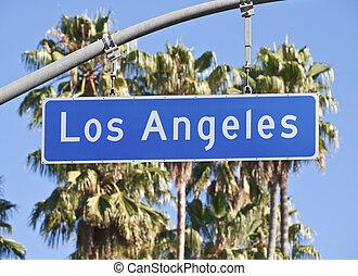 los ángeles, calle de la ciudad, señal
