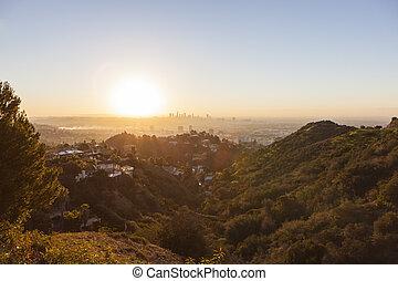 los ángeles, hollywood, colinas, salida del sol