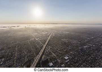 los ángeles, niebla tóxica, y, niebla, por, el, 405, autopista