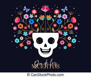 los, メキシコ人, カラフルである, 面白い, ポスター, カード, dia, muertos, flowers., 死んだ, 旗, 挨拶, 祝祭, パーティー, de, フライヤ, 日, 休日
