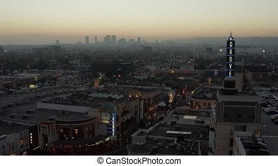 los, aerial:, sur, angeles, coucher soleil, noël, californie, bosquet, vibe, centre commercial, achats