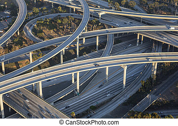 los angeles, 110, e, 105, auto-estrada, intercâmbio, aéreo