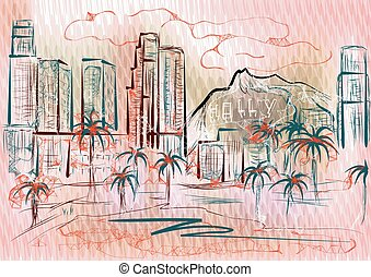 los angeles. abstract silhouette of city on multicolor...
