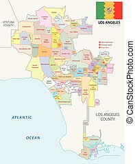 los angeles administrative and political vector map with flag