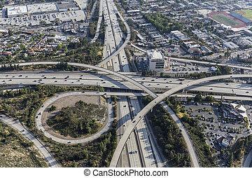 Los Angeles Aerial of Glendale and Ventura Freeways Interchange