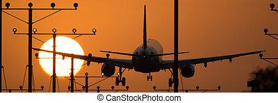 Los Angeles Airport - Airplane landing at Los Angeles...