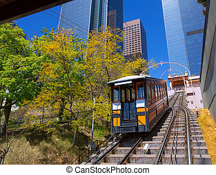 Los Angeles Angels flight funicular in downtown at Hill...