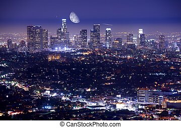 Los Angeles at Night - Downtown Los Angeles at Night. Los...