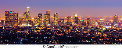 Los Angeles at night - Skyscrapers at night in Los Angeles