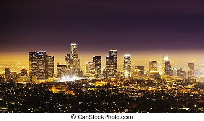 Los Angeles at Night, time lapse - Downtown Los Angeles,...