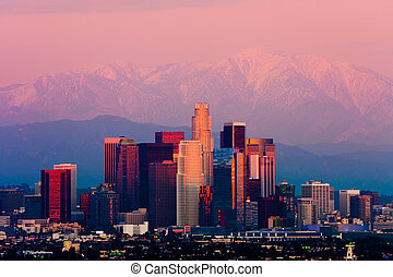 Los Angeles at sunset - Skyscrapers in downtown Los Angeles,...