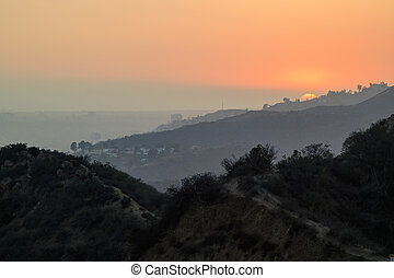 Los Angeles big Sunset scene from Griffith Park