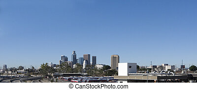 Los Angeles, CA - Cityscape of Los Angeles downtown with...