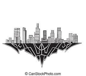 Los Angeles, CA Skyline. Black and white vector illustration...