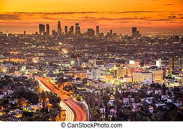 los angeles, califórnia, eua, centro cidade, skyline, em, dawn.