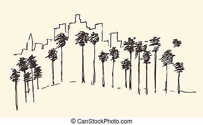 Los Angeles, California, Skyline Engraved Sketch - Los...