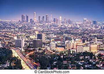 Los Angeles, California, USA downtown cityscape at smoggy night