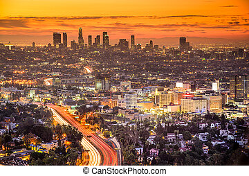 Los Angeles, California, USA downtown skyline at dawn.