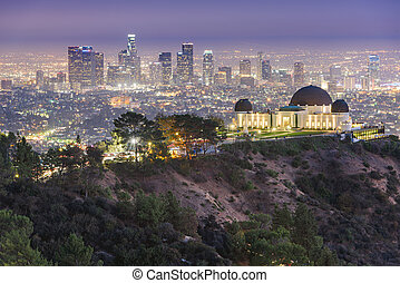 Los Angeles, California, USA downtown skyline from Griffith Park