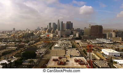 los angeles, californien, industriel, bygninger, downtown, skyline city, tåge, røgtåge