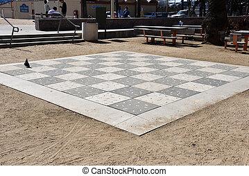 LOS ANGELES, CA/USA - MARCH 17, 2019: Life size chess board in Santa Monica