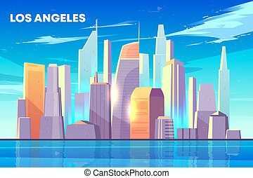 Los Angeles city bay skyline cartoon