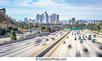 Los Angeles City Freeway Traffic At Sunny Day