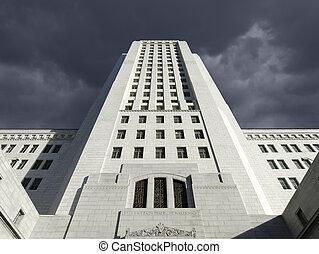 Los Angeles City Hall with Thunder Storm Sky