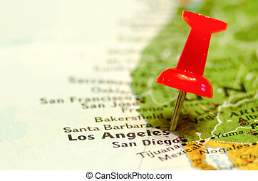 los angeles city pin on the map
