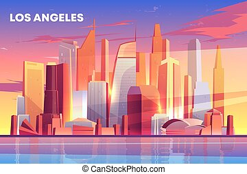 Los Angeles city skyline architecture waterfront