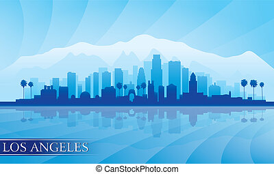 Los Angeles city skyline detailed silhouette. Vector...
