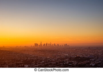 Los Angeles cityscape viewed from Griffith observatory at sunrise