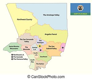 los angeles county regions map with flag