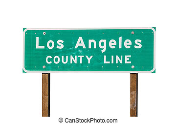 Los Angeles County Sign Isolated - Los Angeles county line...