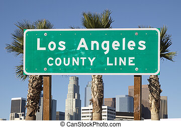 Los Angeles County Sign - Los Angeles county line sign with...