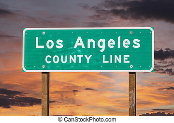 Los Angeles County Sign with Sunset Sky - Los Angeles county...