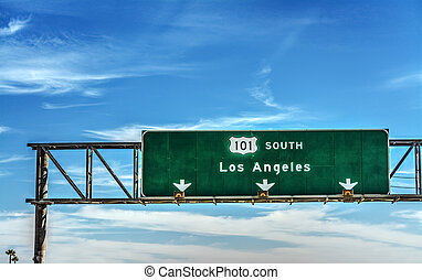 Los Angeles direction sign on 101 freeway southbound