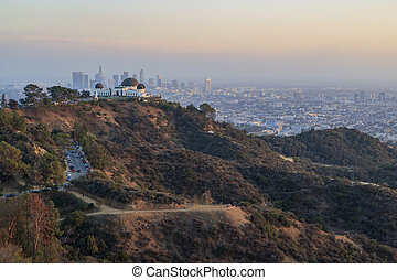 Los Angeles downtown Sunset Cityscape with Griffin Observatory