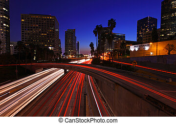 Los Angeles Freeway at Night - Timelapse Image of Los...