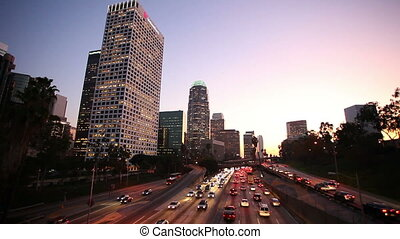 Los Angeles Freeway - Freeway Traffic in Down Town Los...
