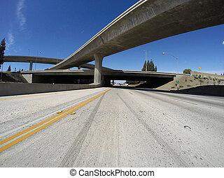 118 and 405 freeway interchange bridges in Los Angeles's San Fernando Valley.