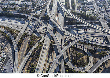 Los Angeles Freeway Interchange Ramps Aerial