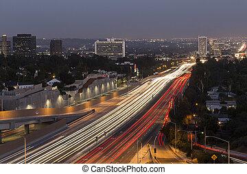 San Diego Freeway running through the west side of Los Angeles, California.