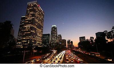 Los Angeles Freeway - Freeway Traffic in Down Town Los...