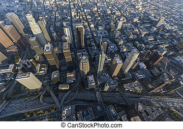 Aerial view of towers along the Harbor 110 freeway in downtown Los Angeles, California.