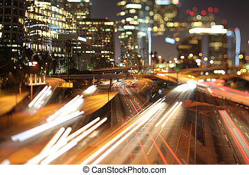 los angeles freeway - view of downtown los angeles and...